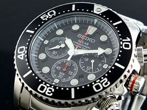 seiko solar mens chronograph stainless steel divers 200m watch image is loading seiko solar mens chronograph stainless steel divers 200m