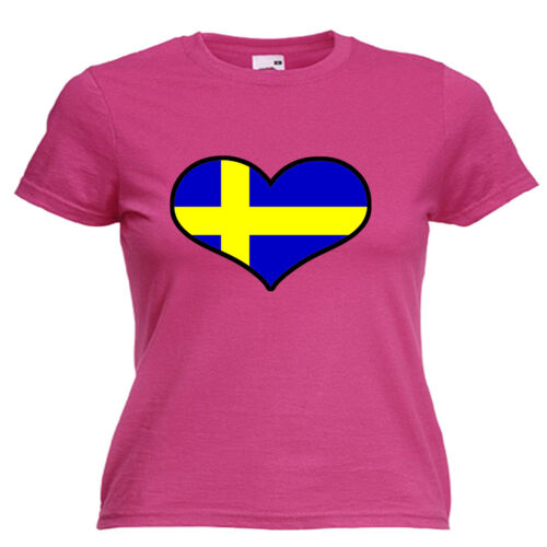 Sweden Love Heart Flag Ladies Womens Lady Fit T Shirt