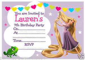 10 fab personalised rapunzel birthday party invitations or thank you image is loading 10 fab personalised rapunzel birthday party invitations or bookmarktalkfo Image collections