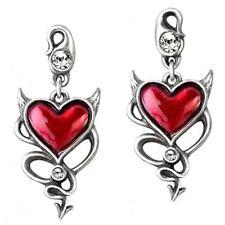 Alchemy UL17 Devil Heart Stud Drop Earrings Pewter Red Enamel Crystal ULFE22