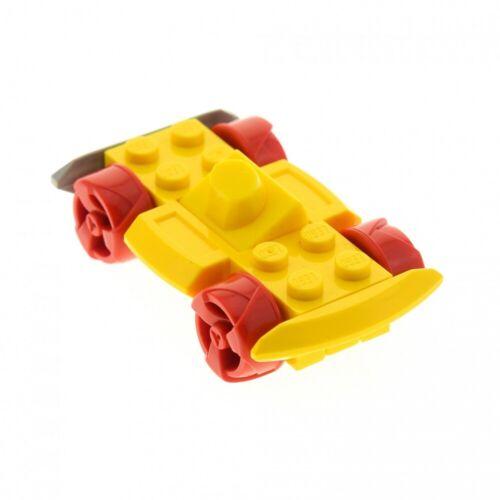 1 X LEGO sistema auto veicolo base giallo 4x6 sottostruttura con ruote mobili stoßd