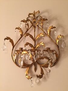 Vintage antique ITALIAN TOLE gold gilt wall sconce ...