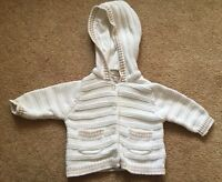 Newborn Baby Unisex Babaluno White Beige Cardigan  Jacket Hooded Cute VGC !