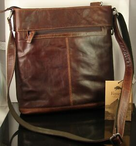 Image is loading Jack-Georges-Voyager-Collection-Brown-Leather-Messenger- Crossbody- c993efdb37