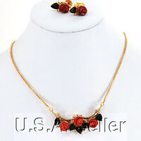 Red Coral & Green Jade Rose Pendant Gold Necklace & Earring Set 16
