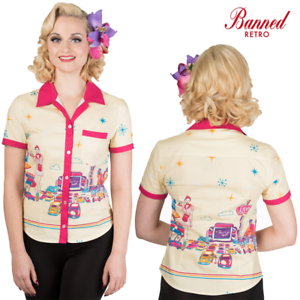 Banned Apparel Hold Tight American Diner Graphic Print Retro Vintage 50s Shirt