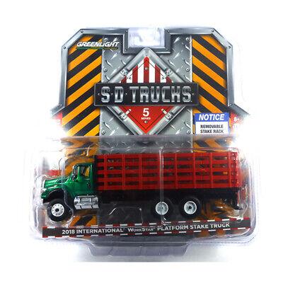 Modellbau Ernst Greenlight 45050 Workstar Platform Stake Truck Green Machine Sd Trucks 1:64 Neu°