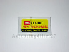 5 FEATHER New Hi-Stainless Platinum Coated Double Edge Razor Blades - Japan
