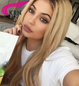 Kylie Jenner Straight Dark Honey Blonde Hair Lace Front Wig Human