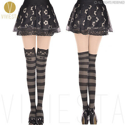 CUTE STRIPED CAT TATTOO TIGHTS - Sexy Horizontal Stripe Kitten Tail Pantyhose