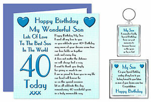 40th Son Happy Birthday Gift Set   Card, Keyring & Mag40 Today
