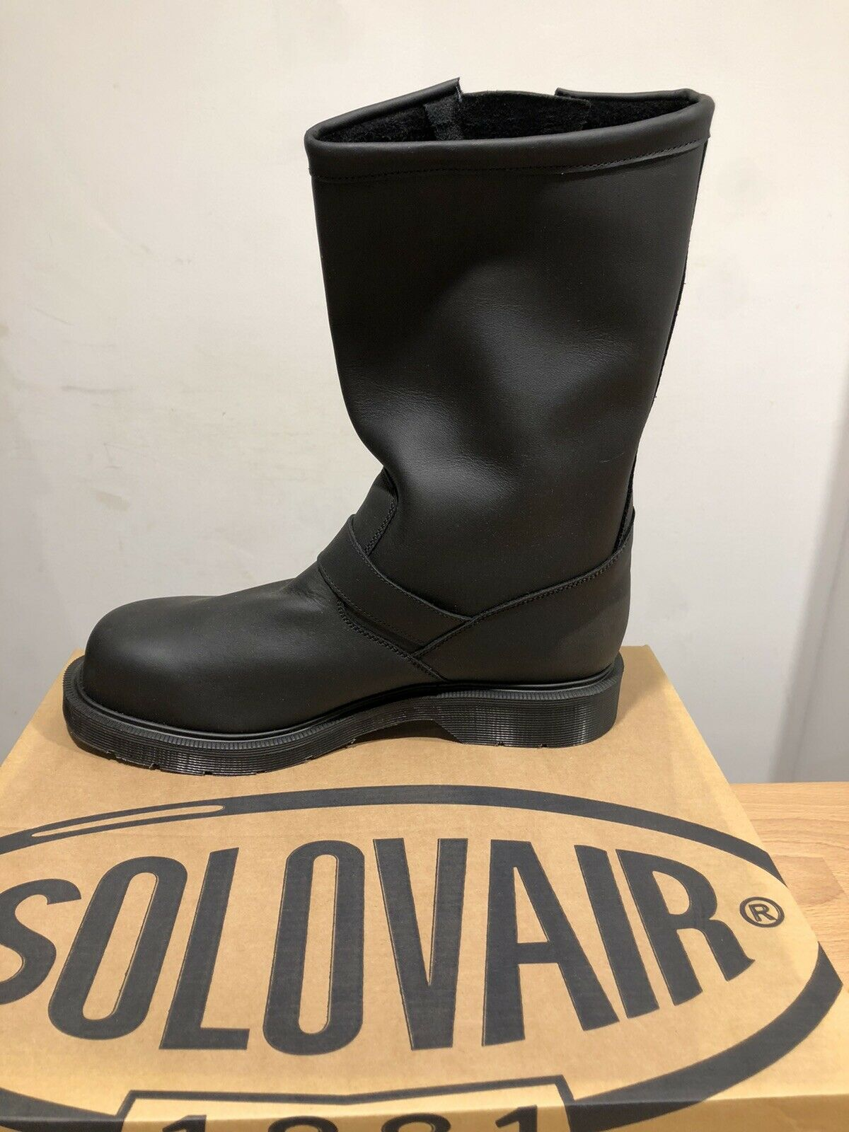 NPS Solovair Grease Black Pull On Steel Toe Biker Boot!SizeUK8!New!Only !