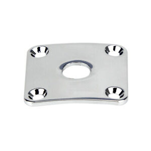 One-Chrome-Electric-Guitar-Jack-Plate-Curved-Output-Jack-Plate-Square-Metal