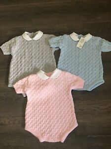 020503df8a54 Image is loading Baby-babies-girls-boys-KNITTED-ROMPER-outfit-pink-