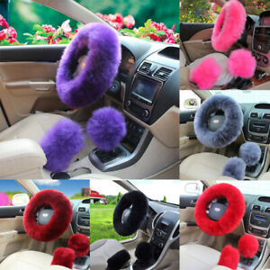 3Pcs-Universal-Car-Plush-Fuzzy-Steering-Wheel-Cover-Wool-Fur-Knob-Shifter-Brake