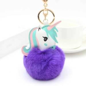 Rabbit Fur Ball Key Chain Unicorn Pom Keychain Pompom Women Bag ... b60839a352