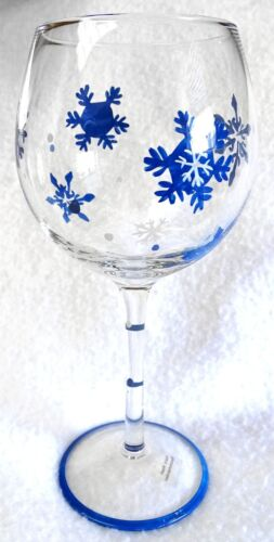 """Large Bowl Long-Stem WINE GLASS Hand-Painted Blue Snowflakes 8-3//8/"""" Tall"""