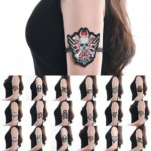 Embroidery Upper Arm Cuff Armlet Skull Wolf Tattoo Chain Armband