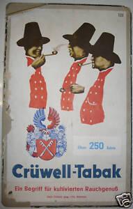 Pappschild Werbung Pappaufsteller Crüwell Tabak Rauchtabak Zigaretten Vintage