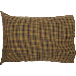 TEA-CABIN-Green-Plaid-Pillow-Case-Set-Primitive-Log-Cabin-Rustic-VHC-Brands