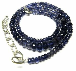 Natural Iolite Necklace Gemstone 4.5 to 7mm Roundel Faceted Beads 96 Ct S45