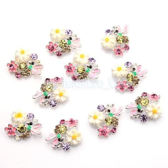 10x DIY Decorations 3D Metallic Crystal Rhinestone Nail Art Tip Glitter Stickers
