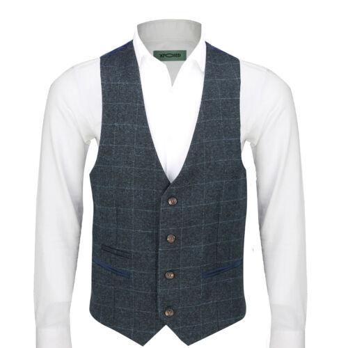 Mens Vintage Tweed Check Waistcoat Smart Casual Vest Charcoal Grey Maroon Blue