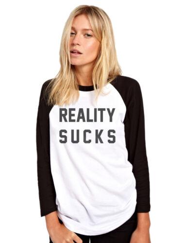 La réalité craint pour femme baseball top-fashion slogan tee