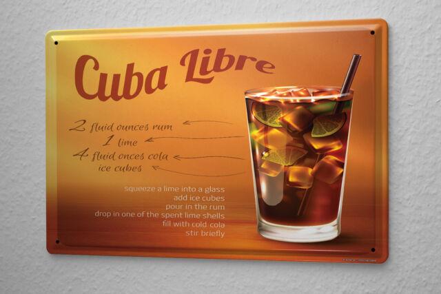 Tin Sign Party Retro Cuba Libre recipe Bar Pub Restaurant