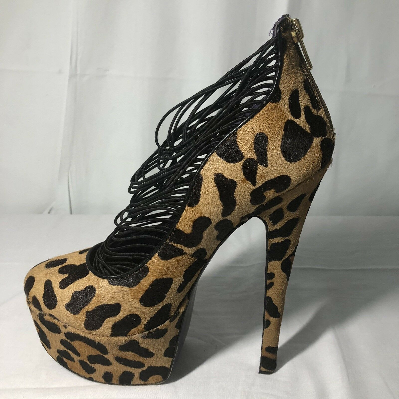 London Trash Print Größe 9 Leopard Print Trash Pony Hair Platform Drag Runway Stiletto Heels 444f15