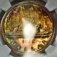 1972 Canadian Silver Dollar NGC SP65 Rainbow Tone Colors