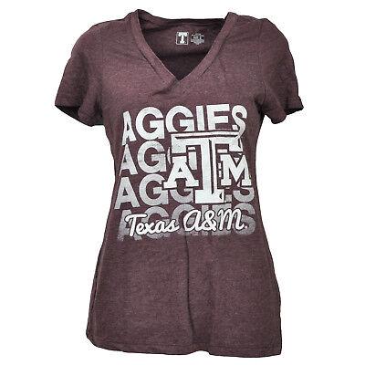 Weitere Ballsportarten Ncaa Texas A&m Aggies Atm Burgunderrot T-shirt Damen Kurzärmelig Distressed