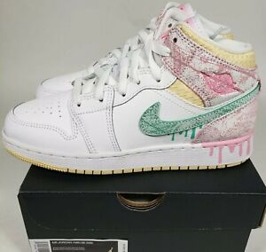 Details about NIKE AIR JORDAN 1 MID SE GS 6.5Y (Womens size 8)PAINT DRIP Ice Cream DD1666-100