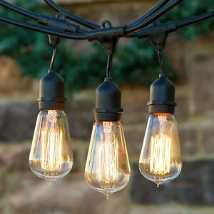 Delicieux Image Is Loading Pair 2 Outdoor Weatherproof Vintage Edison Bulb String