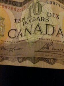 1971-Canadian-ten-dollar-bill-10-Canada-note-edr-Prefix-Circulated