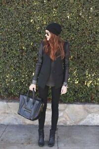 Giacca Leather Sleeves Zara Blazer Faux bottone Nwt un con Xl BtaqCPwqx