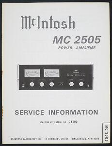MCINTOSH MC-2505 Original Power Amplifier Service Manual/WIRING ...