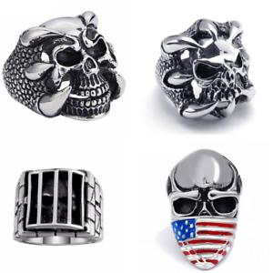 Bague Chevaliere titanium Tete mort crane griffe prison bandana USA skull biker