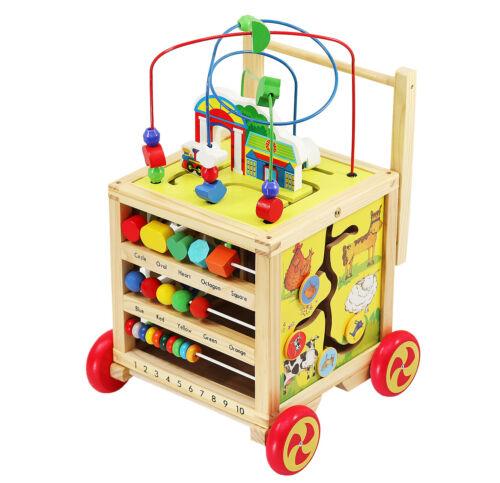 Lauflernwagen Holz Motorikspielzeug Bunt Baby Kleinkind 3+ Lernen Spielen 6518