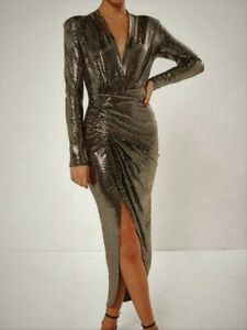 John-Zack-Sequin-Dress-Gold-Plunge-Wrap