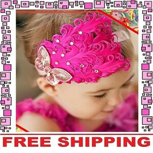 Hot-Pink-Feather-Headband-Hairband-Accessories-Girl-Baby-Infant-Toddler-Children
