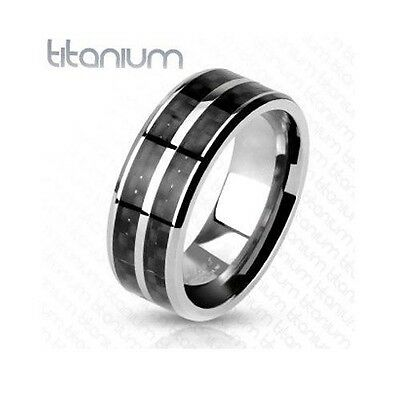 Solid Titanium Black Carbon Fiber Inlay with Slit Center Wedding Band Men's Ring
