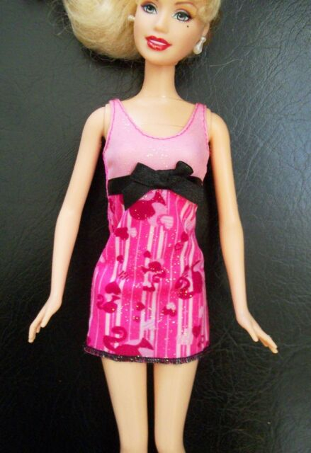 PINK DRESS with BARBIE LOGO - Barbie Doll Fashion Clothes Clothing, Black Bow