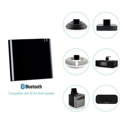 Black Bluetooth Wireless A2DP Music Receiver Audio Adapter 30 Pin Dock Speakers