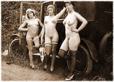 Vintage Car with Smoking Girls. Old Photo. Top Quality Collectors Piece. UK.