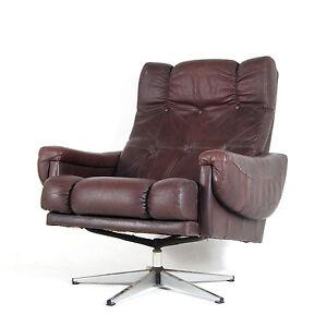 retro vintage danish swivel base leather chrome armchair lounge egg chair 70s ebay. Black Bedroom Furniture Sets. Home Design Ideas