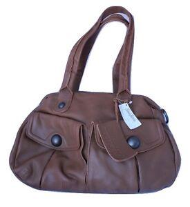 Image Is Loading Linea Pelle Serena Brown Satchel Handbag Shoulder Leather