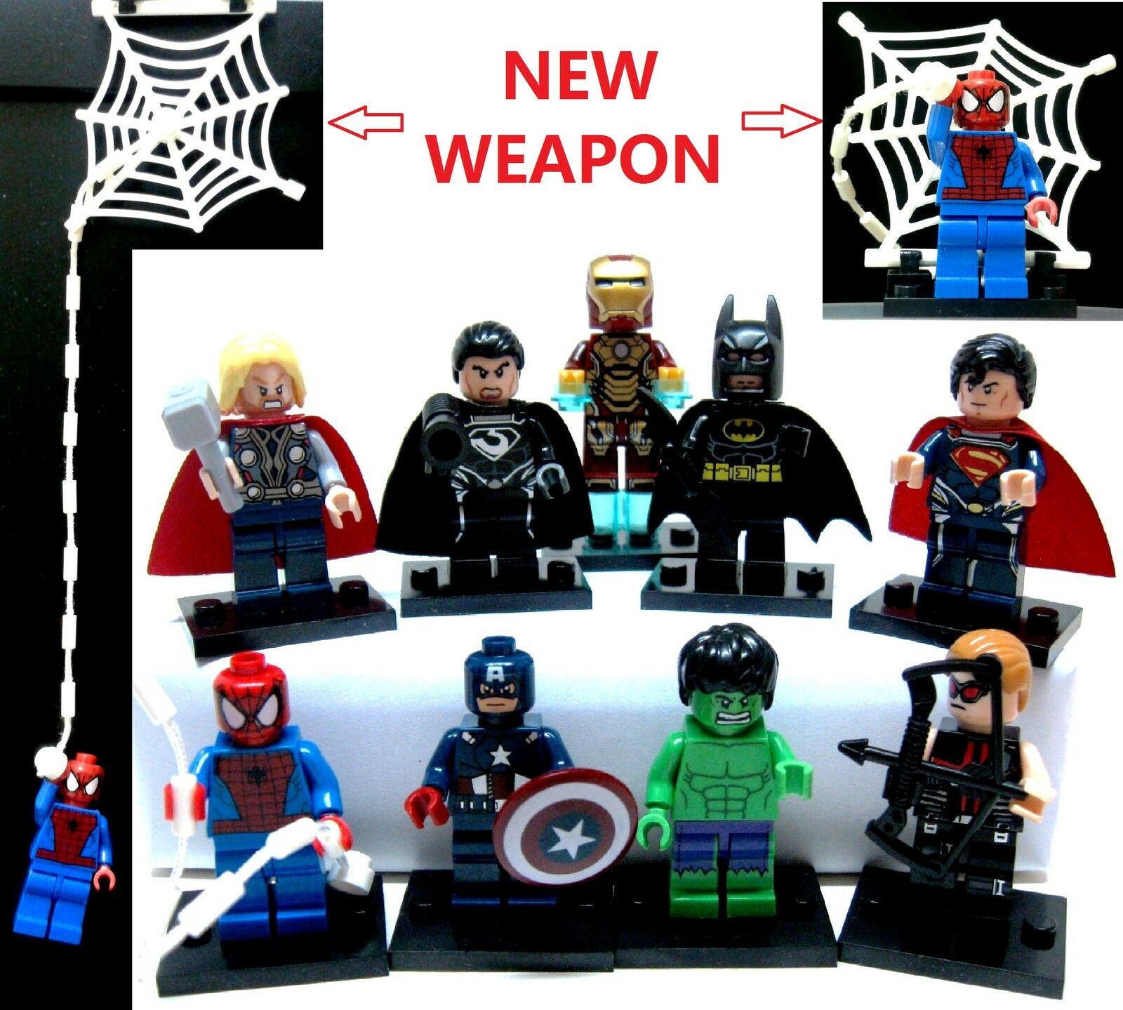 9pcs Spiderman New weapon Captain America Ironman Batman Thor Hawkeye Superman