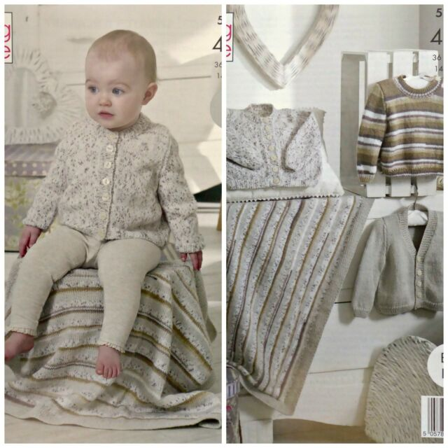 aed8f0c9ea0e King Cole Baby 4ply Knitting Pattern Easy Knit Cardigan Sweater Lap ...