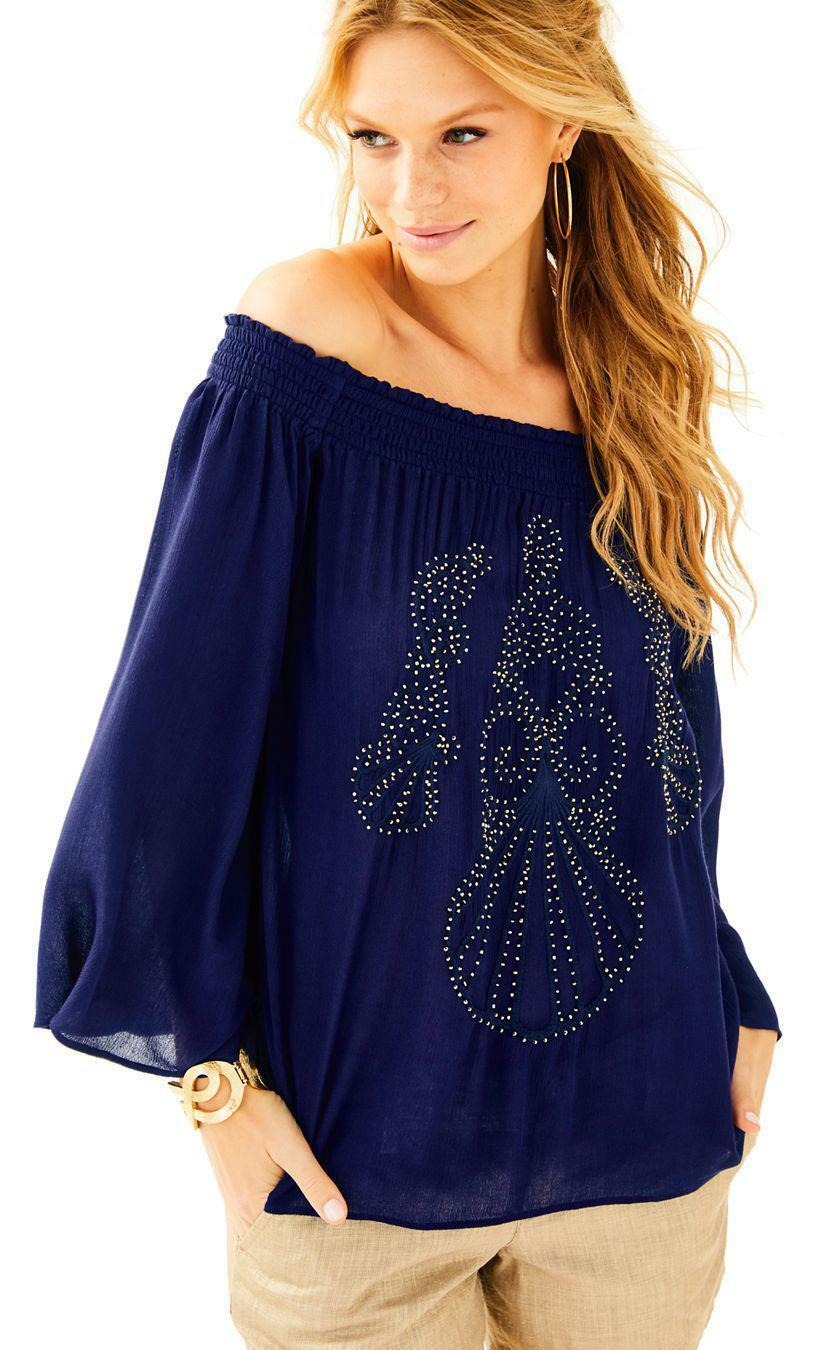 NEW Lilly Pulitzer NITA TOP Off the Shoulder Blouse True Navy S XL